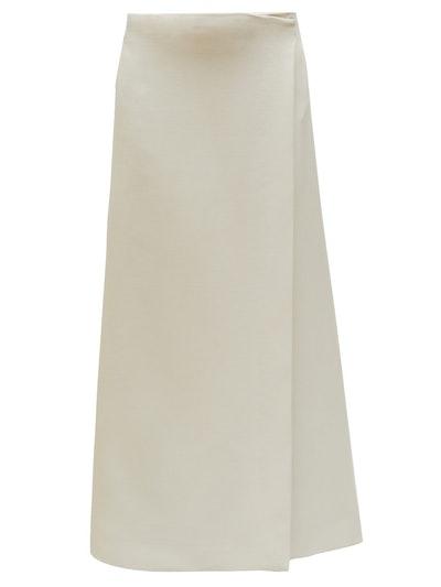 Saio Wrap-Front Wool Blend Midi Skirt