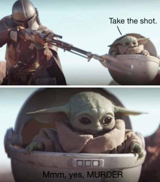 A picture of a murderous Yoda and the Mandalorian