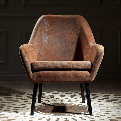 Versanora VNF-00033AF Divano Accent Chair, Aged Fabric Brown