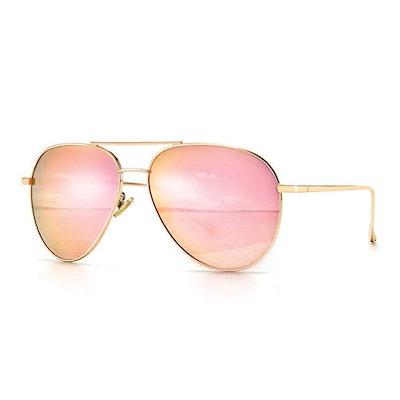 SUNGAIT Women's Lightweight Oversized Aviator Sunglasses