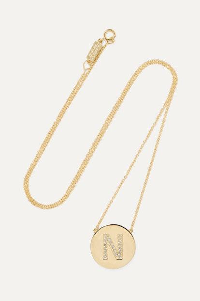Letter 18-Karat Gold Diamond Necklace