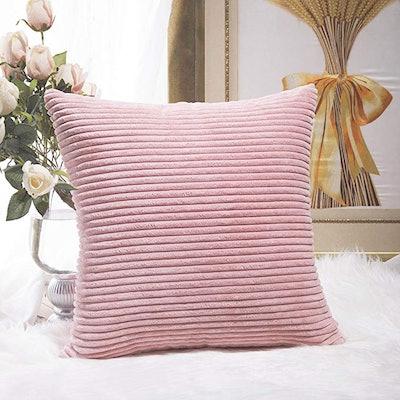 Home Brilliant Striped Corduroy Velvet Large Euro Throw Pillow Sham
