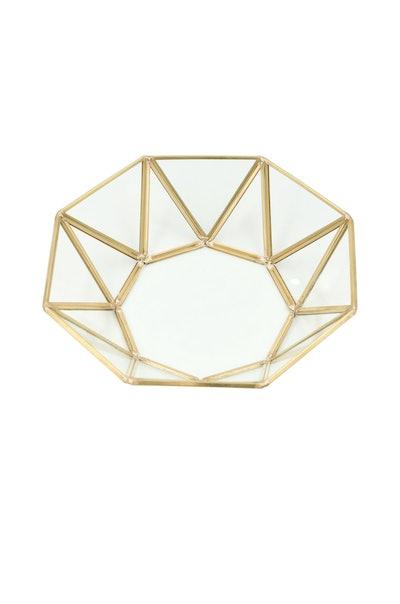 Gold Round Geometric Jewelry Tray