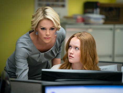 Charlize Theron as Megyn Kelly and Liv Hewson as Lily Balin in 'Bombshell'
