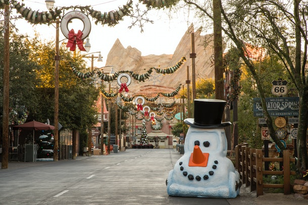 The entrance to Cars Land at Disneyland is transformed for the holidays with Christmas decorations.