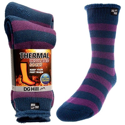 DG Hill 2 Pairs of Mens Thick Heat Trapping Insulated Boot Thermal Socks