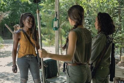Danai Gurira as Michonne, Sydney Park as Cyndie, and Avianna Mynhier as Rachel in The Walking Dead Season 10