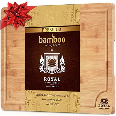Small Bamboo Cutting Board for Kitchen with Juice Groove - Best for Meat/Vegetables and Fruits - Knife Friendly and Antibacterial - 12 x 8 inches