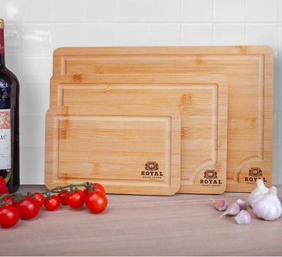 Royal Craft Wood Bamboo Cutting Boards (3-Piece Set)