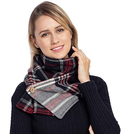 Travel Scarf with Zipper Pocket Knitting Plaid Tartan Scarves
