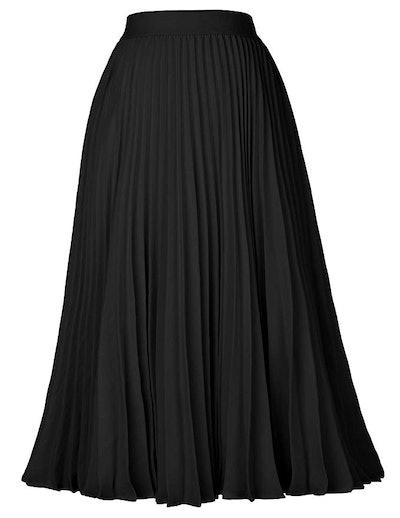 Kate Kasin Women's High Waist Pleated A-Line Skirt