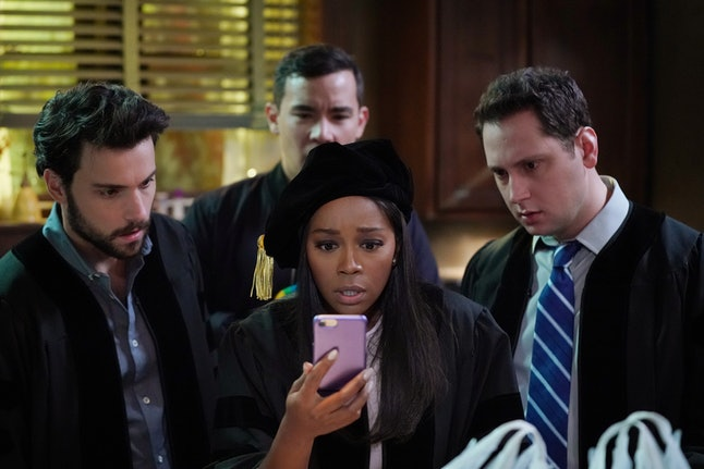ABC's 'HTGAWM' Fall Finale episode on Nov. 21 featured the return of Wes (Alfred Enoch) and Laurel (Karla Souza). (Pictured: Jack Falahee, Aja Naomi King, Matt McGorry, and Conrad Ricamora)
