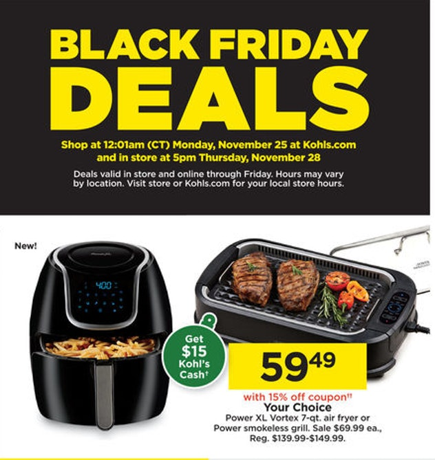 Power XL Vortex 7-Quart air fryer on sale at Kohl's for Black Friday 2019