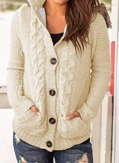 Sidefeel Hooded Knit Cardigan