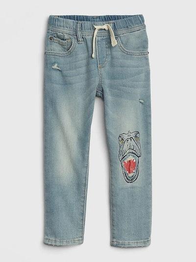 Toddler Dino Pull-On Slim Jeans with Fantastiflex