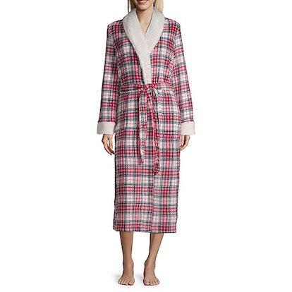 Liz Claiborne Womens Fleece Long Sleeve Long Length Robe