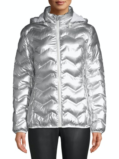 Time and Tru Women's Puffer Coat with Hood