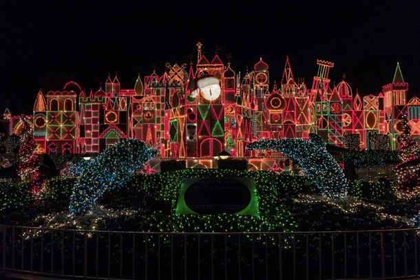 """""""It's A Small World"""" Holiday lights up with colorful Christmas lights for the holiday season."""