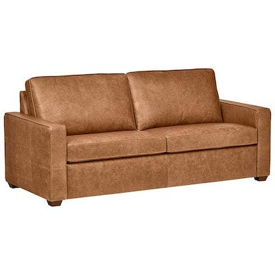 "Rivet Top-Grain Leather Sofa – Andrews, Modern Classic, 82"" W, Cognac"