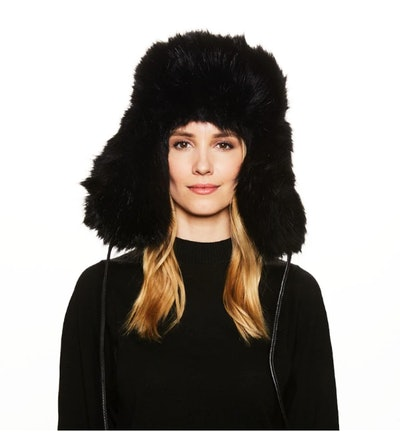 Owen Leather-Trimmed Faux Fur Hat