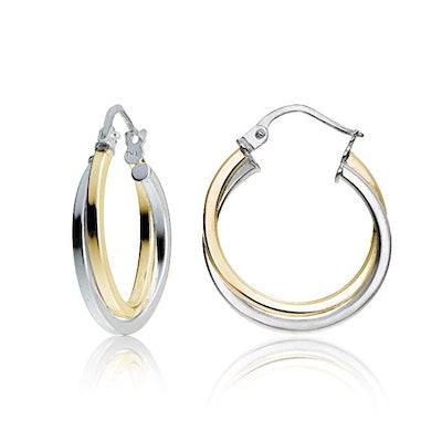 Hoops & Loops Sterling Silver Intertwining Square-Tube Polished Hoop Earrings