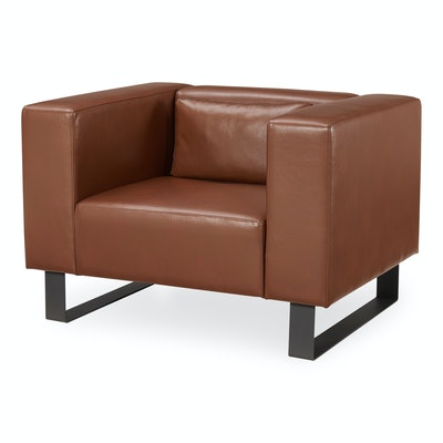 MoDRN Refined Industrial Atoll Metal Base Lounge Chair