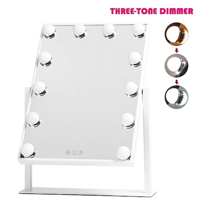 """HOLLYWOOD MIRROR Y5003001-3040 Lighted Vanity, Three-Tone Dimmer Makeup Mirror, 12"""" W x 16"""" H, White"""