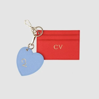 Red Double Cardholder and Key Ring Set
