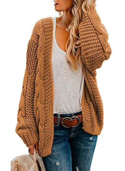 Astylish Women  Long Sleeve Chunky Knit Cardigan