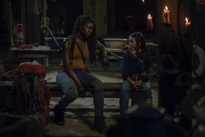 Danai Gurira as Michonne and Cailey Fleming as Judith Grimes in The Walking Dead Season 10