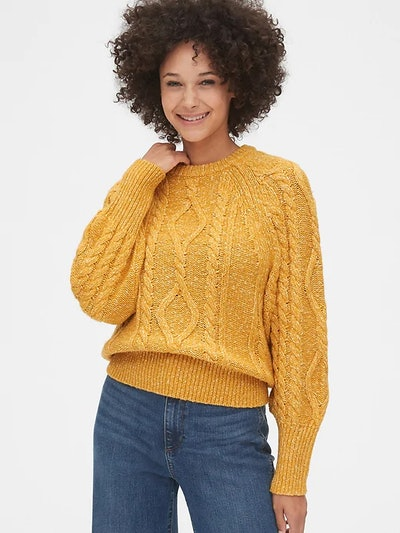 Marled Cable-Knit Crewneck Sweater