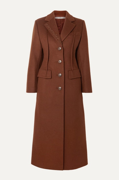 Embroidered wool-blend felt coat