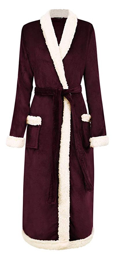 BURKLETT Luxury Faux Fur/Sherpa Trim Fleece Long Bath Robe with Pocket
