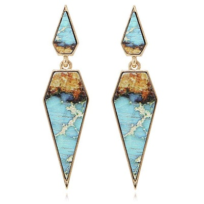 BONALUNA Bohemian Wood And Marble Effect Pentagon Shaped Drop Statement Earrings