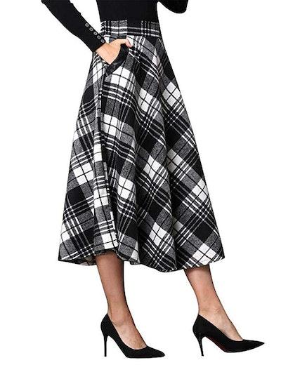 IDEALSANXUN Womens High Elastic Waist Maxi Skirt