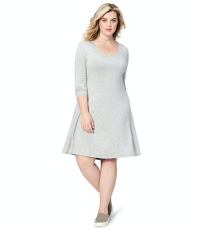 Daily Ritual Women's Plus Size Long-Sleeve V-Neck Dress
