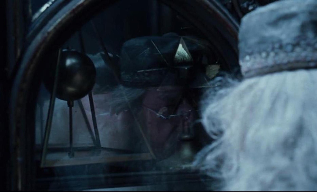 The Deathly Hallows symbol was hidden in Dumbledore's office early in the 'Harry Potter' movies.
