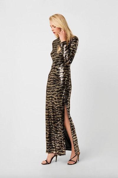 Ebba Tiger Sequin Split Maxi Dress