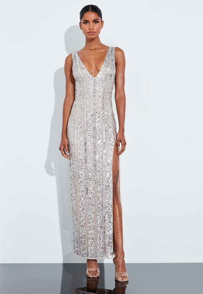 Peace + Love Silver Plunge Embellished Split Maxi Dress