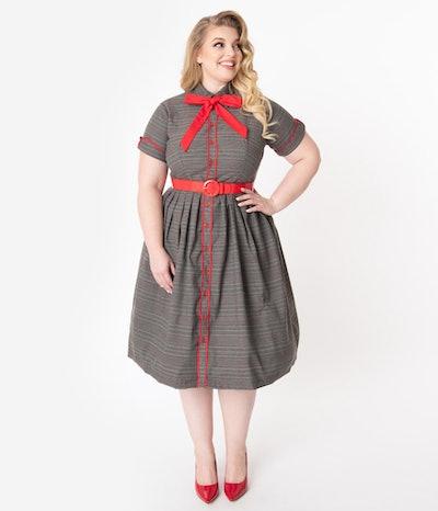Plus Size Grey Plaid Button Front Swing Dress