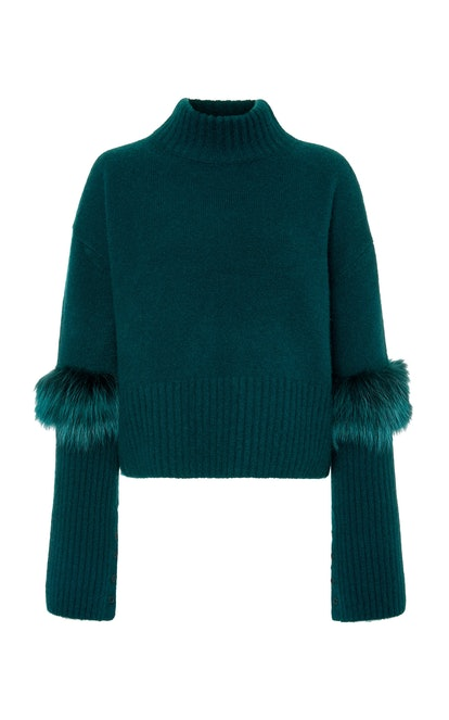 Fur-Trimmed Cashmere and Silk Blend Sweater