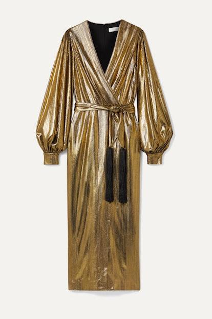 Belted Wrap-Effect Lamé Midi Dress