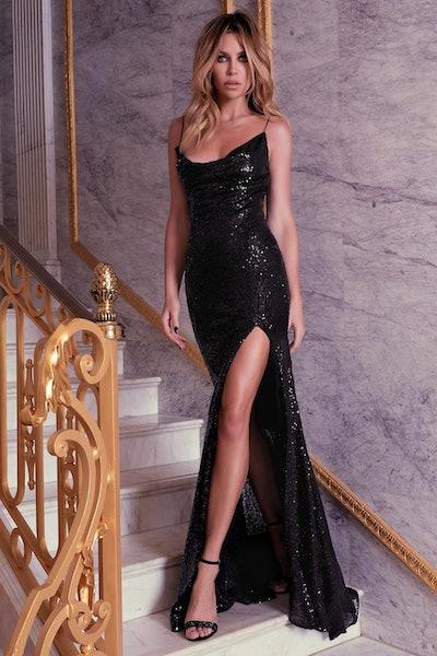 Abbey Clancy x Lipsy Sequin Cowl Maxi Dress