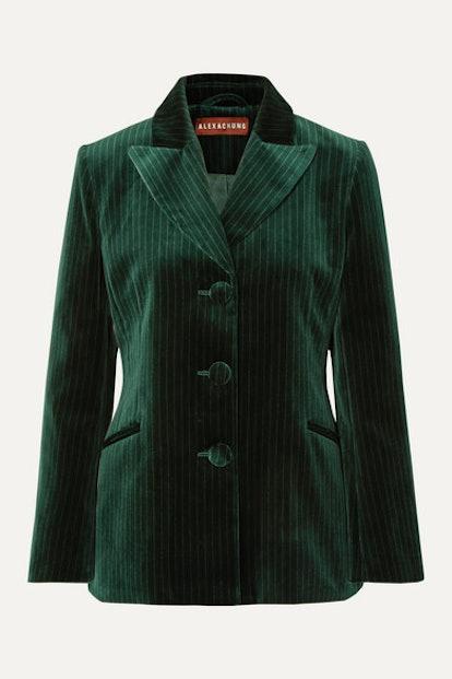 Metallic Pinstriped Cotton-Velvet Blazer