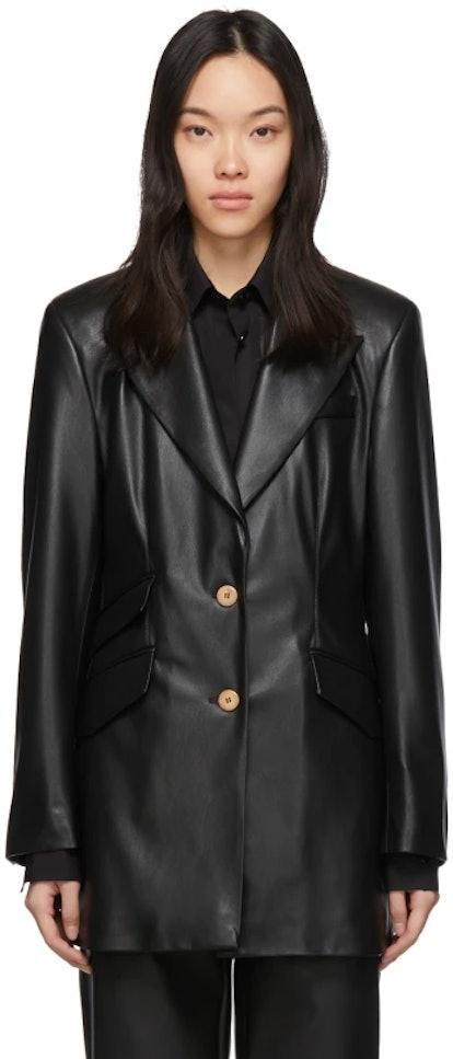 Black Vegan Leather Cancun Blazer