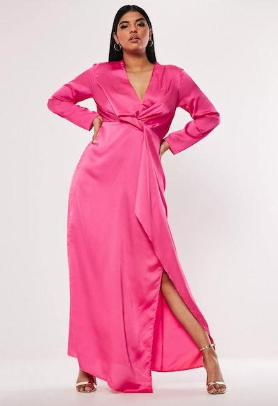 Plus Size Pink Satin Thigh Split Maxi Dress