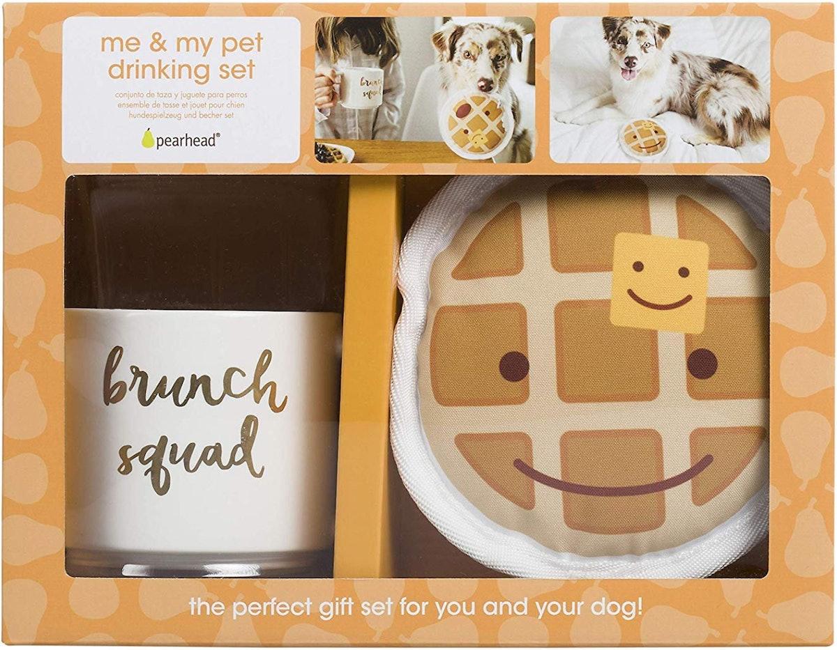Pearhead Me & My Pet Brunch Squad Ceramic Mug & Dog Toy Gift Set, 14-oz
