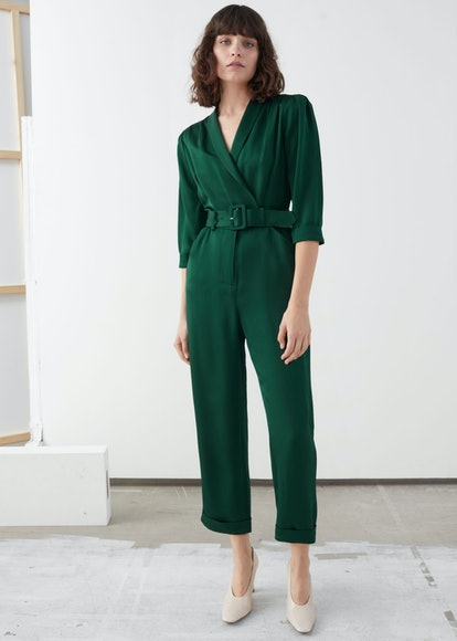 Shawl Collar Belted Boilersuit