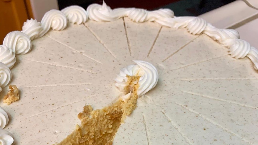 Costco's 5-Pound Pumpkin Cheesecake features a cream cheese topping.