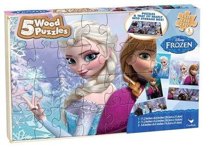 Frozen Disney 5 Wood Puzzles in Wooden Storage Box